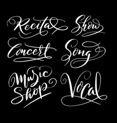 music and song hand written typography vector image vector image