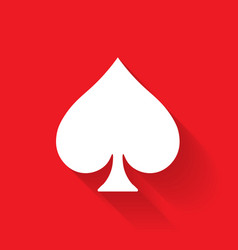 spade poker suit symbol white sign on red vector image