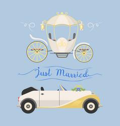 wedding fashion transportation vector image vector image