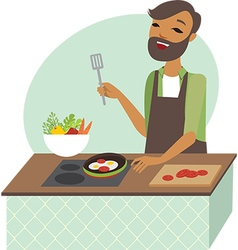 Young man preparing meal vector image vector image