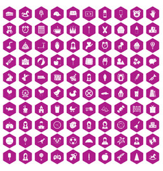 100 child center icons hexagon violet vector