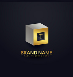 3d letter t logo design template vector image