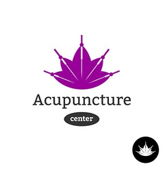 Acupuncture center logo Needles with lotus flower vector