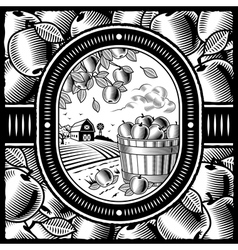 Apple harvest black and white vector image