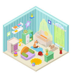 Baby room interior isometric vector
