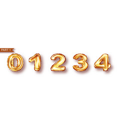 balloon numbers from golden metal foil vector image