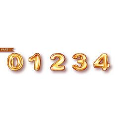 Balloon numbers from golden metal foil vector