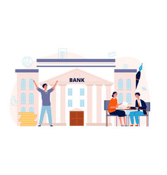 bank agreement loan man signing contract vector image