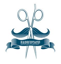 Barbershop scissors and mustache vector