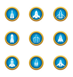 Blast off icons set flat style vector