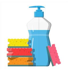 bottle with dispenser and sponge vector image