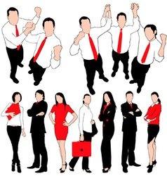 business people silhouettes set vector image
