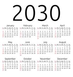 Calendar 2030 sunday vector