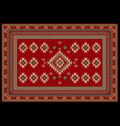 Carpet in red tones with beige blue in middle vector