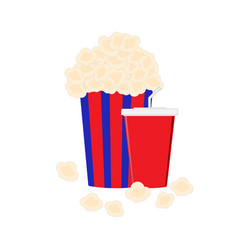 Carton bowl full of popcorn and paper glass of vector