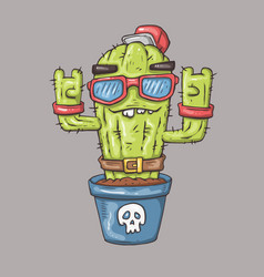 cartoon cactus character for web and print vector image