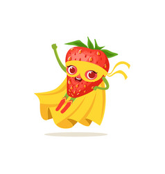 Cartoon character of superhero strawberry flying vector