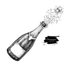 Champagne bottle explosion Hand drawn isolated vector