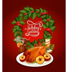 Christmas turkey with wine and holly wreath poster vector