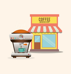 Coffee shop machine maker product vector