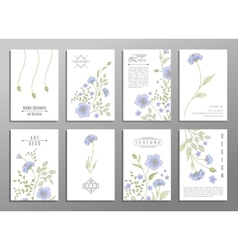 collection cute invitation cards with flowers vector image