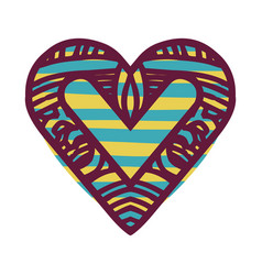 Colorful abstract heart shape with lines pattern vector
