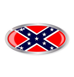 Confederate flag oval button vector
