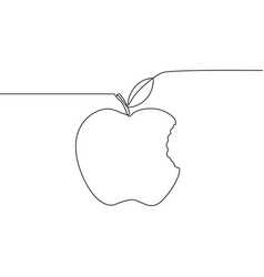 continuous line bitten apple with leaf vector image