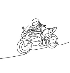continuous line woman riding a motorcycle fast vector image