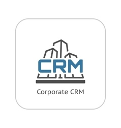 Corporate CRM System Icon Flat Design vector