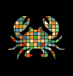 crab mosaic color silhouette aquatic animal vector image