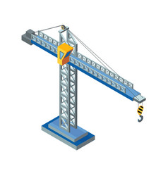 crane machine industrial construction of steel vector image