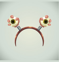 creepy helloween hairband with eyes in hands vector image