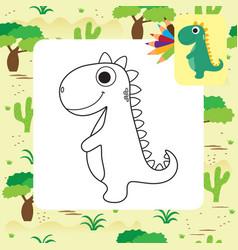 Cute cartoon dino coloring book vector
