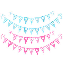 cute vintage festive bunting flags with letters vector image