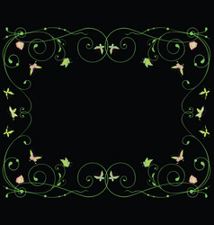 Decorative frame with floral tendrils and flying vector