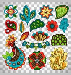 Doodle floral paisley elements vector