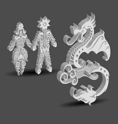 Dragon Male and Female Floral Decorations vector image