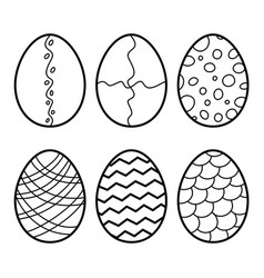 easter eggs hand drawn decorative egg set vector image