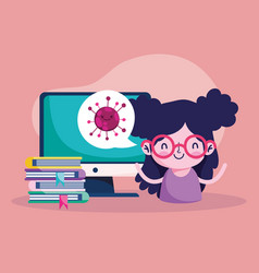 Education online student girl computer books vector