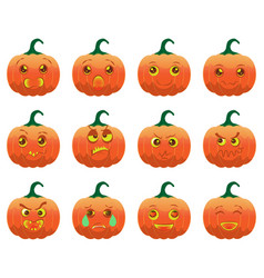 emotion halloween cartoon pumpkins vector image