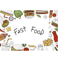 fast food background top view on white background vector image