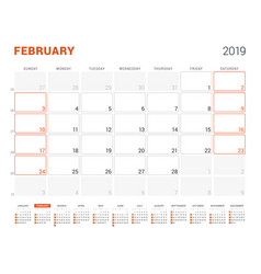 February 2019 calendar planner for 2019 year vector