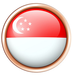 flag of singapore on round badge vector image