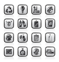 Garbage and recycling icons vector