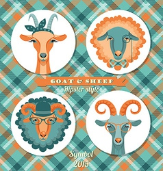 Goat and sheep symbol of 2015 Hipster s vector
