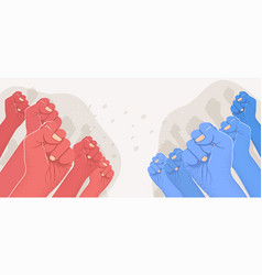 Group raised red arms against group blue vector
