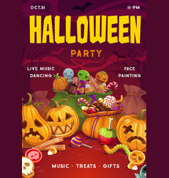 Halloween sweets pumpkins invitation on party vector