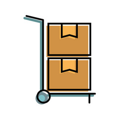 hand cart delivery cardboard boxes storage vector image
