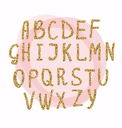 Hand drawn golden glitter letters Font for for vector